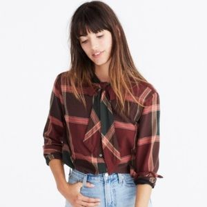 Madewell tie neck flannel shirt